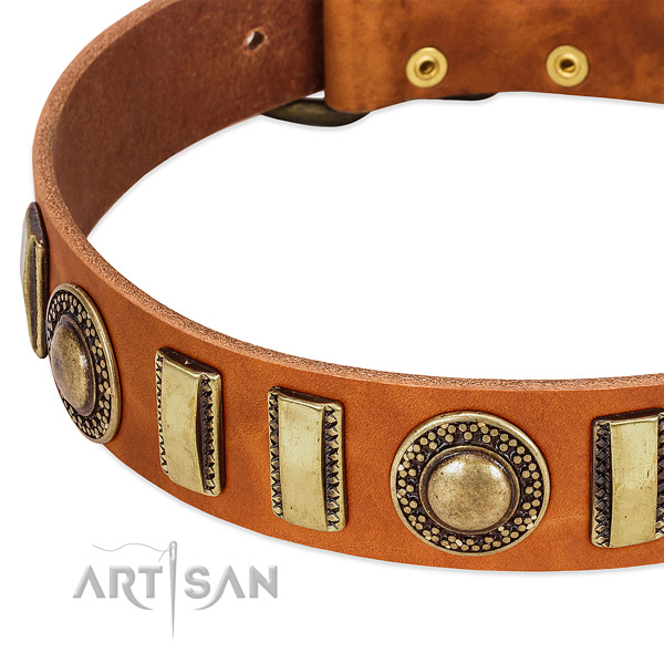 Flexible leather dog collar with durable D-ring