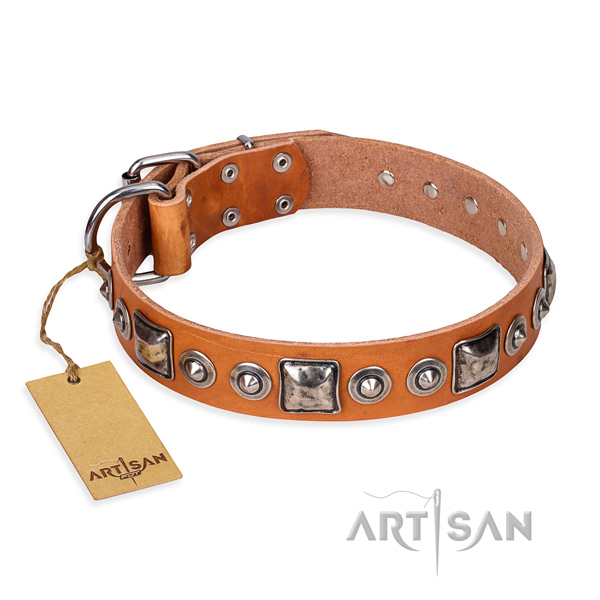 Full grain genuine leather dog collar made of top notch material with rust resistant D-ring