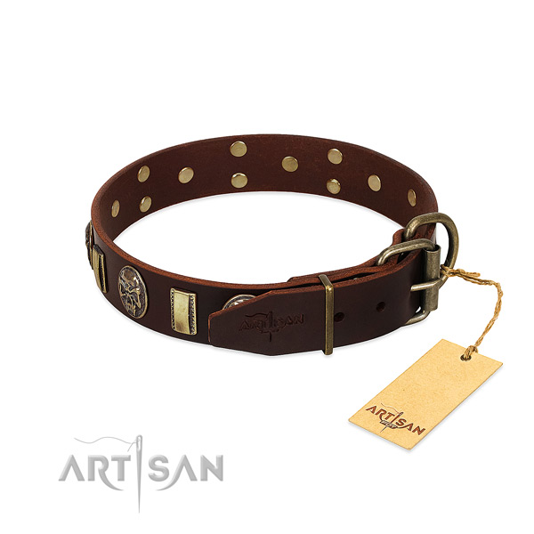 Natural genuine leather dog collar with corrosion resistant hardware and decorations