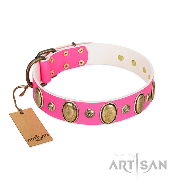 Full grain genuine leather dog collar of soft to touch material with designer decorations