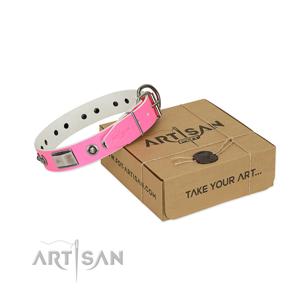 Significant genuine leather collar with decorations for your canine