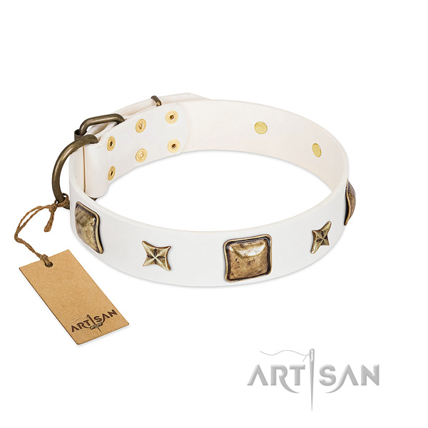 Comfortable natural genuine leather dog collar for comfy wearing