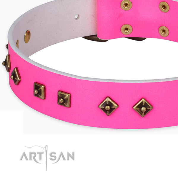 Handmade full grain leather collar for your beautiful doggie