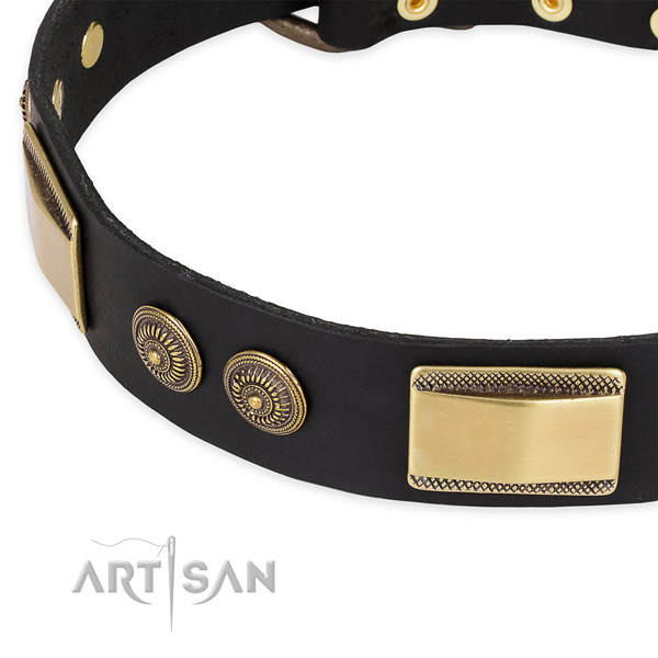 Unique full grain natural leather collar for your stylish dog