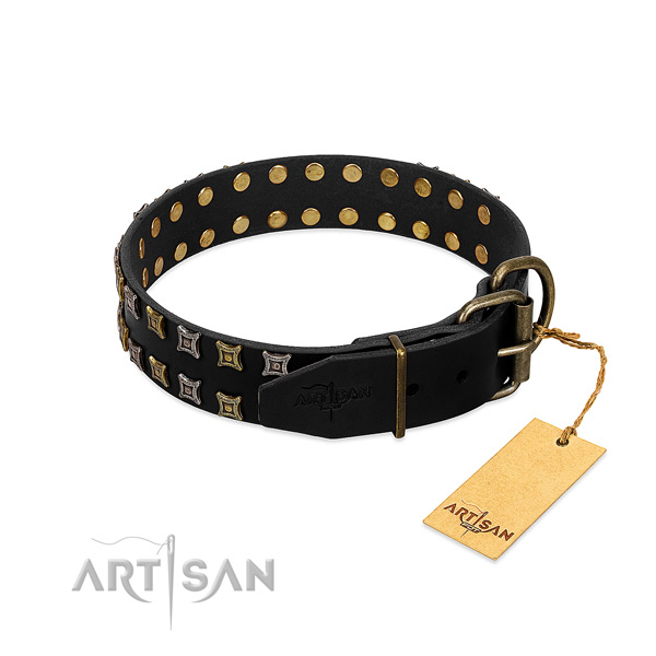 Durable genuine leather dog collar made for your canine