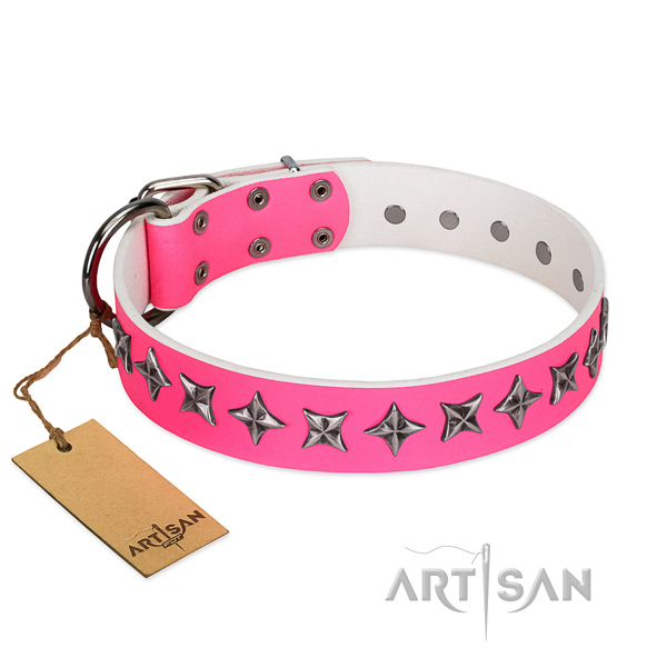 Reliable full grain genuine leather dog collar with amazing embellishments