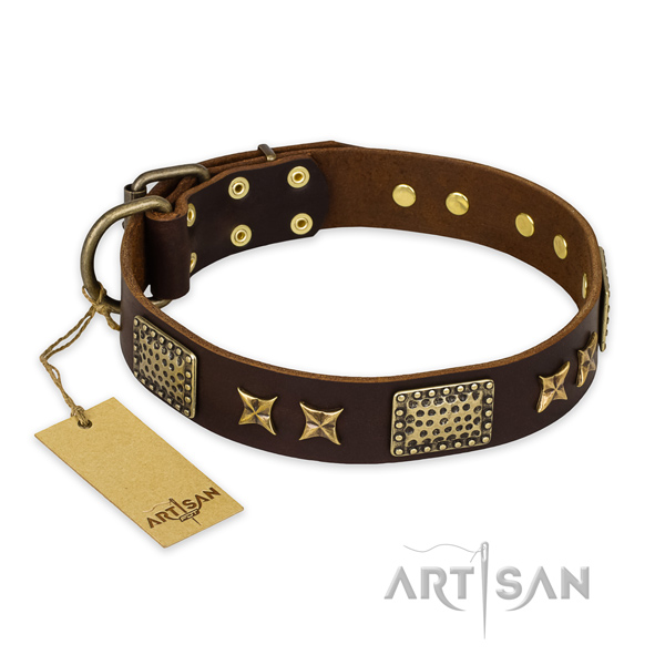 Fine quality leather dog collar with corrosion resistant hardware