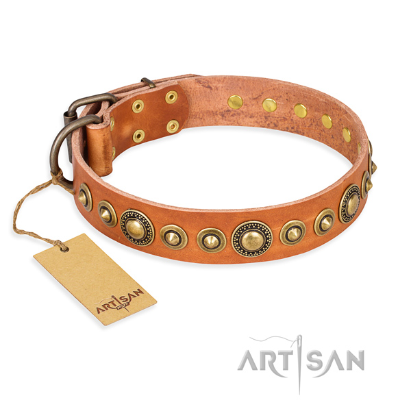 Durable full grain natural leather collar created for your four-legged friend