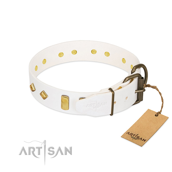 Gentle to touch genuine leather dog collar with strong D-ring