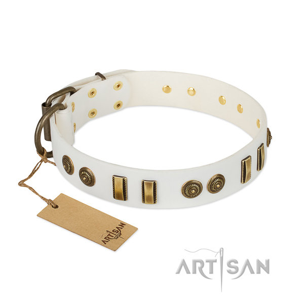 Rust-proof embellishments on natural leather dog collar for your canine