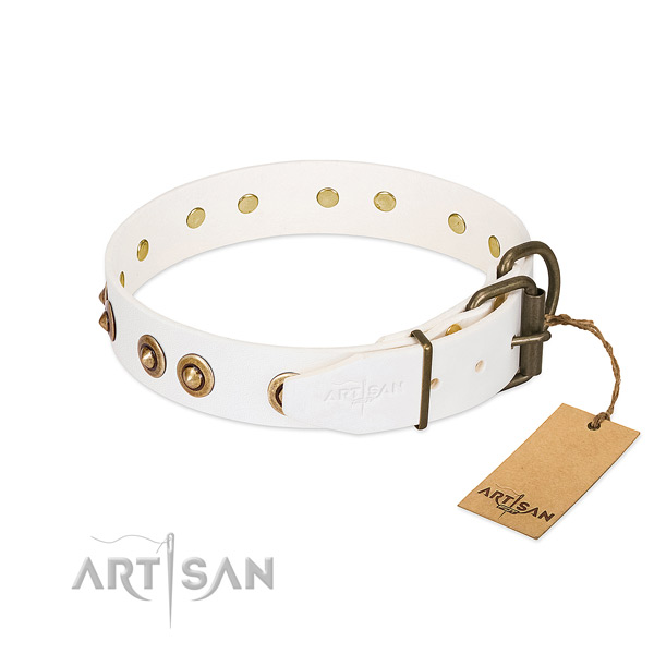 Corrosion resistant fittings on full grain leather dog collar for your canine