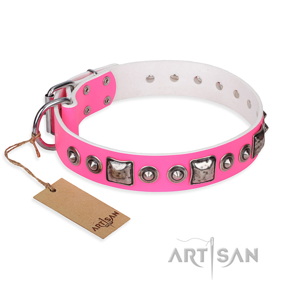 Natural genuine leather dog collar made of high quality material with rust resistant hardware