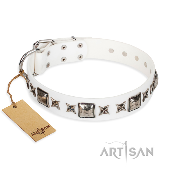 Full grain genuine leather dog collar made of top notch material with corrosion proof traditional buckle