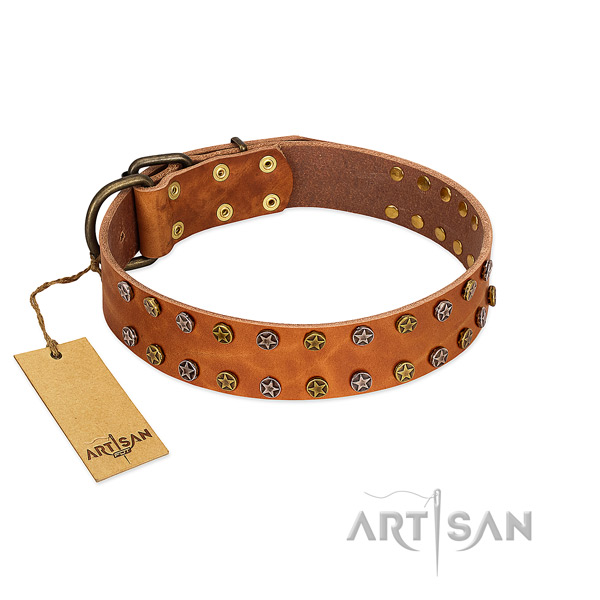 Comfy wearing high quality full grain genuine leather dog collar with studs