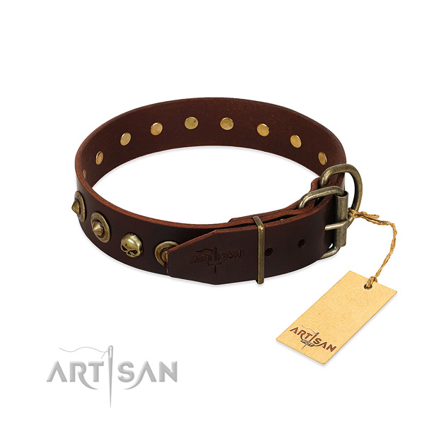 Full grain natural leather collar with stylish design studs for your doggie
