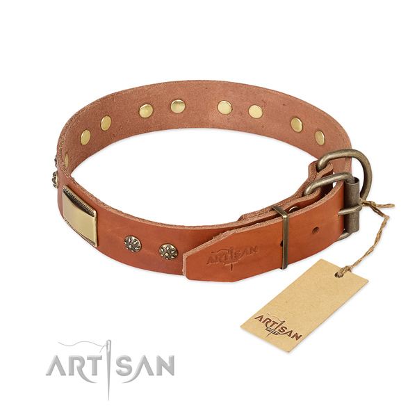 Full grain genuine leather dog collar with rust-proof hardware and adornments