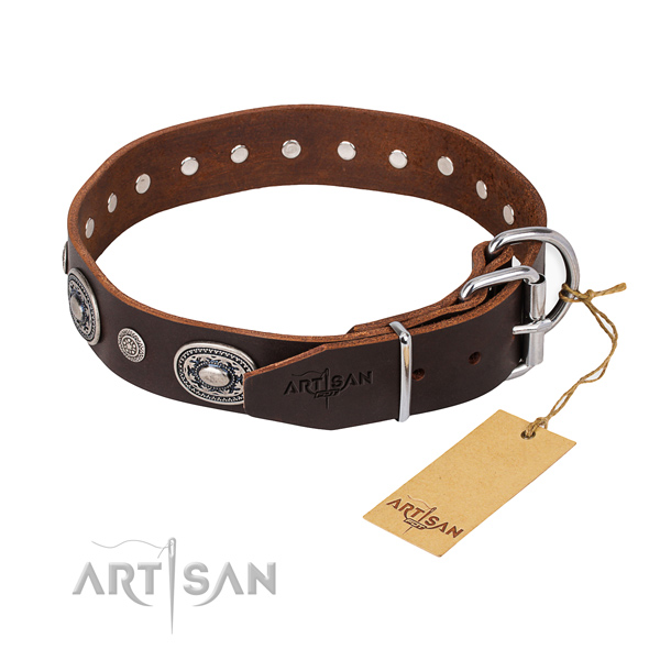 Top rate full grain natural leather dog collar crafted for everyday use