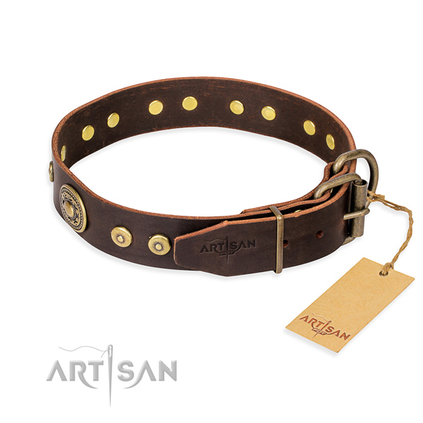 Full grain genuine leather dog collar made of quality material with durable adornments