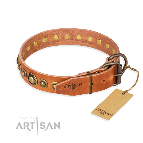 Strong natural genuine leather dog collar created for fancy walking