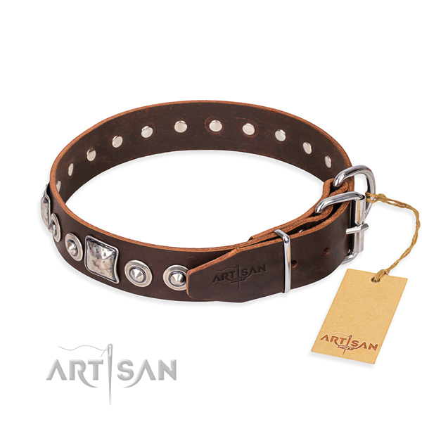 Leather dog collar made of flexible material with reliable studs
