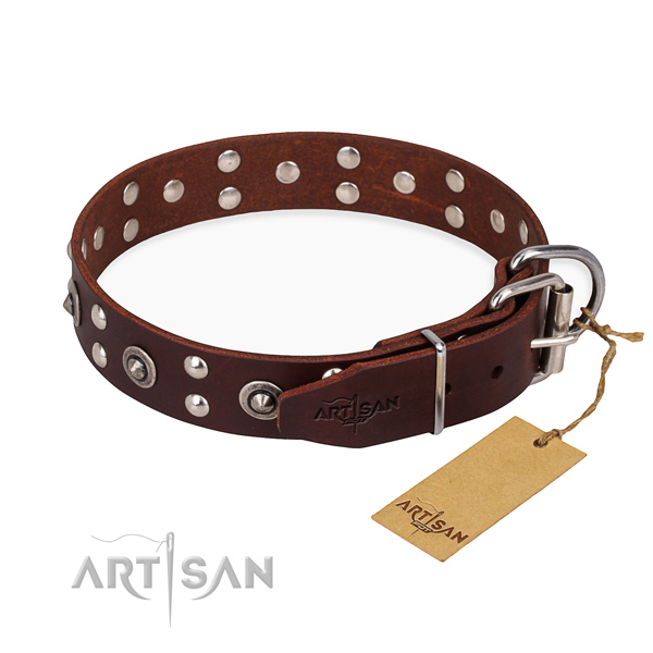 Corrosion proof traditional buckle on full grain natural leather collar for your handsome doggie