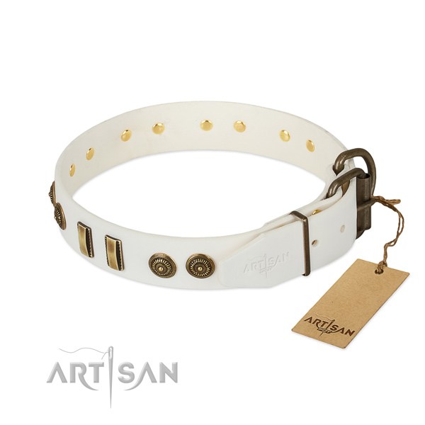 Durable traditional buckle on full grain genuine leather dog collar for your dog