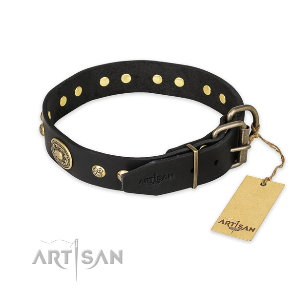 Rust resistant hardware on full grain natural leather collar for basic training your dog