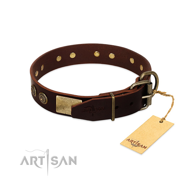 Corrosion proof D-ring on full grain natural leather dog collar for your four-legged friend