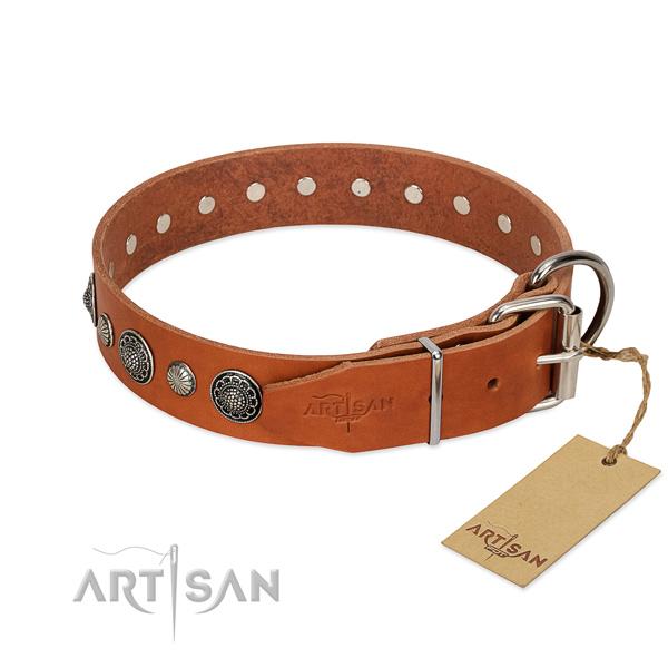 Top rate Full grain natural leather dog collar with corrosion proof buckle