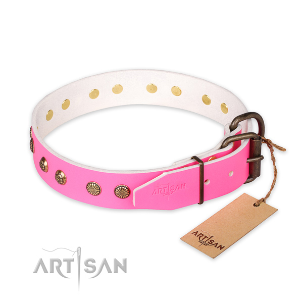 Corrosion resistant traditional buckle on full grain leather collar for your impressive four-legged friend