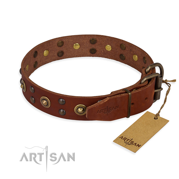 Durable fittings on leather collar for your beautiful dog