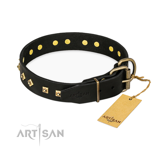 Rust resistant D-ring on genuine leather collar for daily walking your four-legged friend