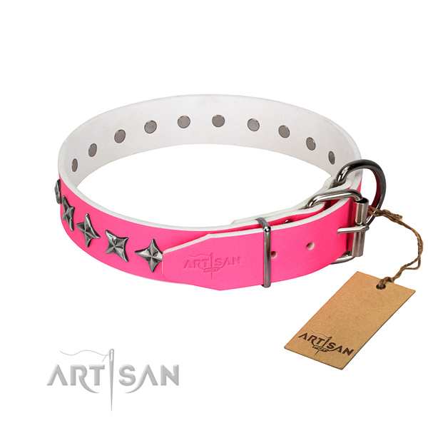High quality full grain natural leather dog collar with unusual studs
