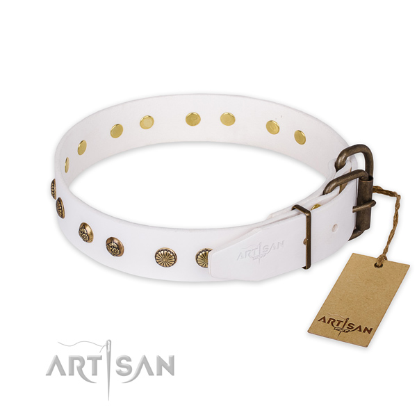 Corrosion proof buckle on full grain leather collar for your handsome doggie