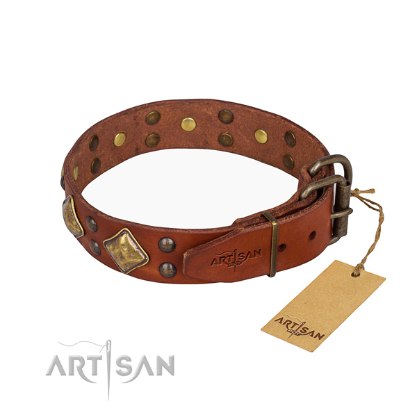 Full grain natural leather dog collar with amazing durable studs