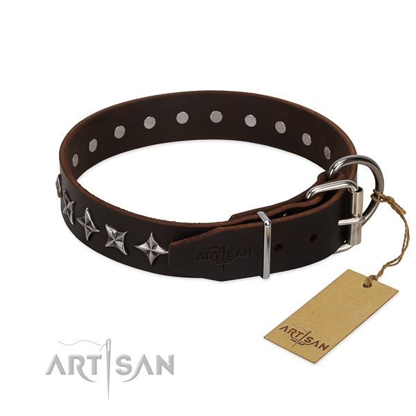 Comfy wearing adorned dog collar of finest quality natural leather