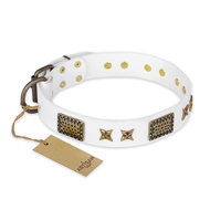 """Hour of Triumph"" FDT Artisan White Leather English Bull Terrier Collar"