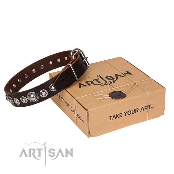 Full grain natural leather dog collar made of flexible material with rust resistant buckle