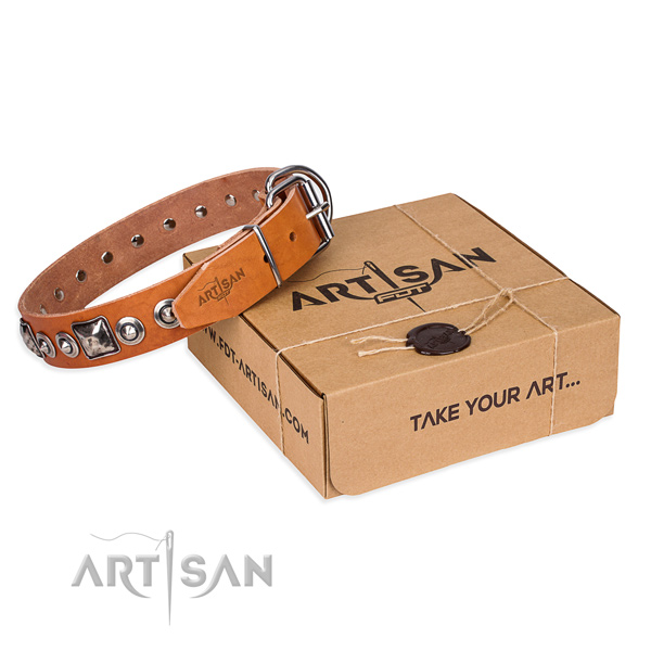 Leather dog collar made of top rate material with durable traditional buckle