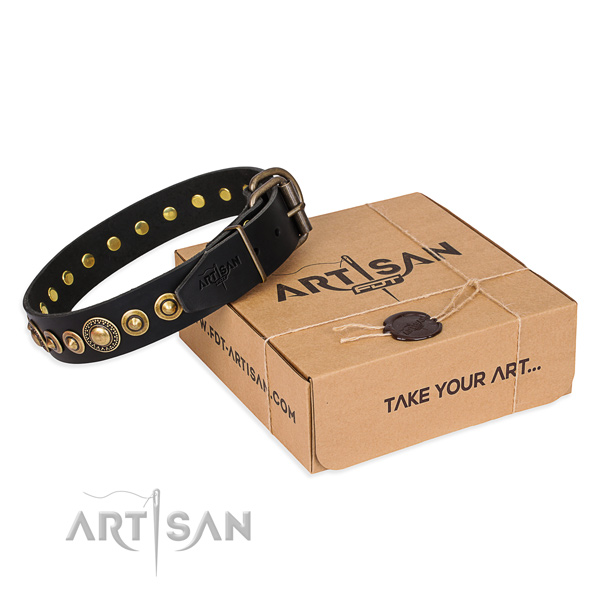 Best quality full grain genuine leather dog collar handmade for daily walking