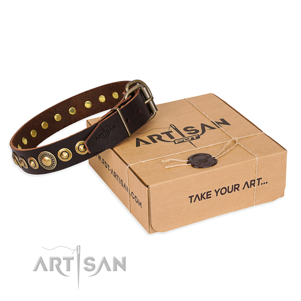Strong natural genuine leather dog collar crafted for fancy walking