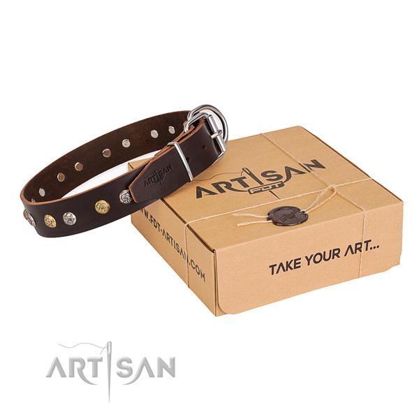 Quality genuine leather dog collar handcrafted for stylish walking