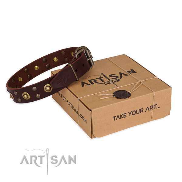 Durable fittings on genuine leather collar for your attractive canine