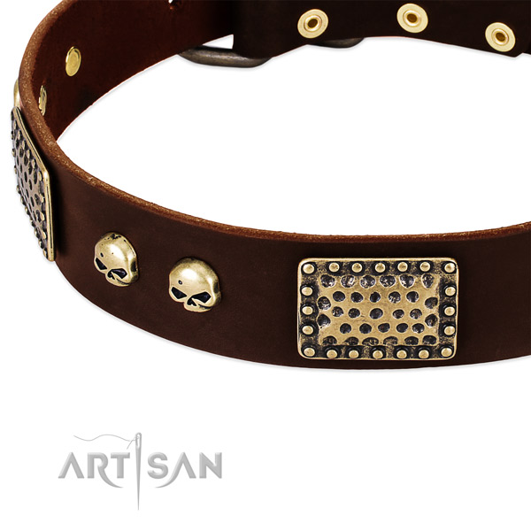 Corrosion resistant hardware on full grain natural leather dog collar for your canine