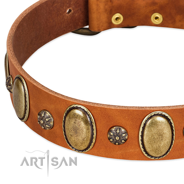 Comfy wearing quality genuine leather dog collar