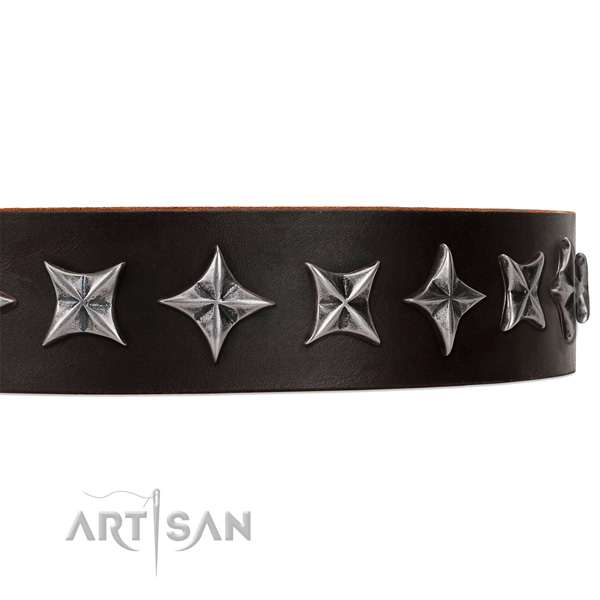 Handy use decorated dog collar of top notch full grain genuine leather