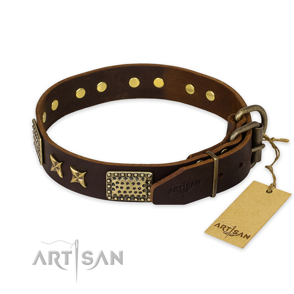 Durable hardware on full grain natural leather collar for your stylish dog