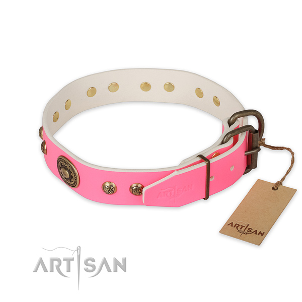 Rust-proof hardware on natural genuine leather collar for walking your pet