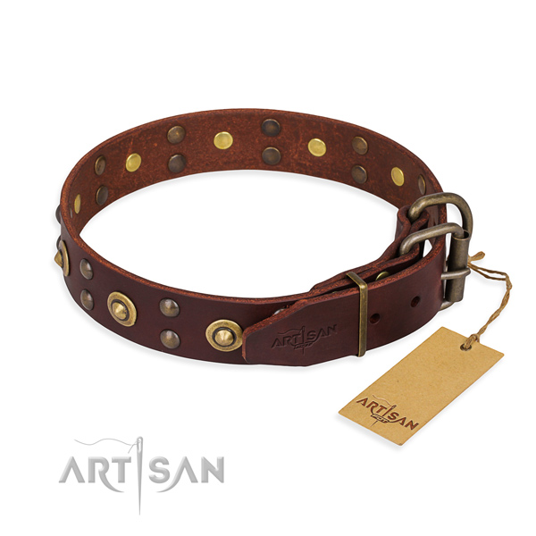 Corrosion proof D-ring on full grain natural leather collar for your handsome pet