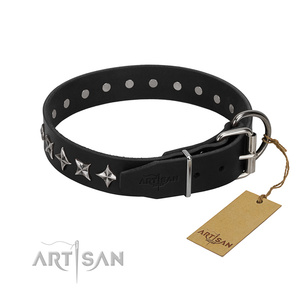 Comfortable wearing adorned dog collar of quality genuine leather